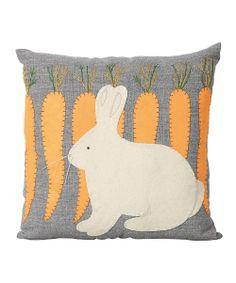 Rabbit & Carrots Throw Pillow