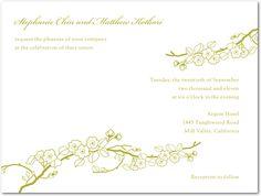 Cherry Blossoms: 1 Color Wedding Invitations:Crimson