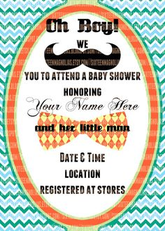 Little Man Mustache Baby Shower Invitation by sixteenmagnolias, $10.00