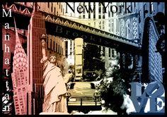 http://suandroll.com/ilustracion/ Ilustración collage de la ciudad de Nueva York de Su and Roll. New York illustration