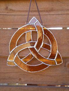 Stained Glass Celtic KnotAmberSuncatcher by DesertGirlGlass, $25.00