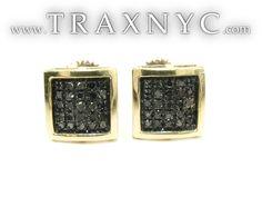 Square Black Diamond Earrings 26047 Mens Diamond Earring Yellow Gold 10k Round Cut 0.30 ct - TraxNYC.com