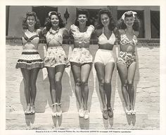 1940's vintage bathing suits at the beach