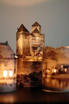 Handmade lanterns that look like mysteriously glowing romantic castles and house at night are a surprisingly simple diy project