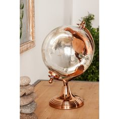 Glass And Aluminium, Copper Glass, Gold Globe, Globe Decor, Map Wall Decor, Rose Gold Frame, Mirror With Shelf, Globe Lights, Glass Globe