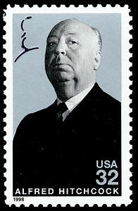 Alfred Hitchcock (1899-1980) was a British filmmaker and producer largely known for films of the suspense and thriller genres. On the stamp appears a laser cut profile of Hitchcock in the upper left corner.