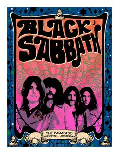 Black Sabbath vintage poster The Paradiso Amsterdam 1970 - Black Sabbath vintage poster The Paradiso Amsterdam 1970 by PetesRetroPosters on Etsy - Psychedelic Rock, Vintage Rock, Rock Posters, Black Sabbath, Hard Rock, Vintage Concert Posters, Retro Posters, Cover Art, Rock Legends