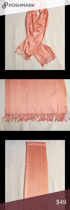 "Luxurious Gorgeous Pink Cashmere Silk Shawl Luxurious Gorgeous Pink Cashmere Silk Shawl Could be used as a scarf as well! Approx. 73"" Long X 21"" Wide Fringe Ends Are Approx. 2.5"" Long For A Total Length Of Approx. 78"" Long  I am selling an amazing collection of HIGH End Pashmina Cashmere and Silk Shawls that were purchased in Europe these are the real deal very very expensive. Excellent condition just A Few Tiny Snags NO TRADES (S064) Accessories"
