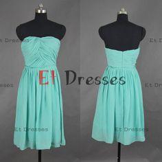 Strapless sleeveless Mini knee-length chiffon bridesmaid dresses ,evening dress