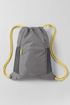 Solid Packable Cinch Sack from Lands End—$8.40 Available in purple, turquoise, grey, blue, black and pink