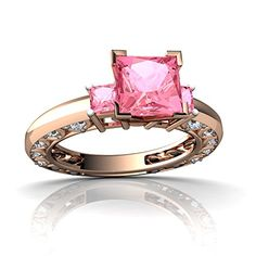 Engagement Rings Simple | 14kt Rose Gold Lab Pink Sapphire and Diamond 3mm Square Art Deco Ring  Size 9 * Check out the image by visiting the link. Note:It is Affiliate Link to Amazon. #likeall