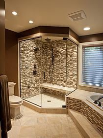 I love the bench in the shower! And the tile inside the shower matches a rim of tile along the bath tub.