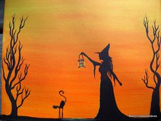 Primitive+Painting+Witch+Black+Cat+original+by+WitchHollowPrims,+$30.00