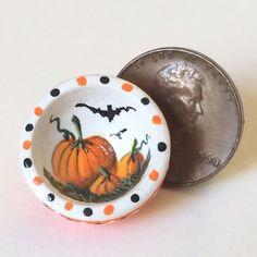 """KARRY JOHNSON IGMA Artisan Miniature painting wooden bowl """"PUMPKINS & BATS"""" #2 Wooden Bowls, Bats, Pumpkins, Folk Art, Artisan, Miniatures, Tableware, Painting, Dinnerware"""