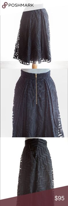 Designer skirt Beautiful designer skirt by Milly. A show stopper w hidden pockets that you can slide you're hands into or let blend w the skirt Milly Skirts