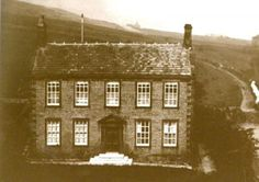 Here is the earliest known image of the Parsonage believed to date from the Notice just the three white steps leading to the f. Bronte House, Bronte Parsonage, Charlotte Bronte, Emily Bronte, Bronte Sisters, West Yorkshire, Yorkshire Dales, Wuthering Heights, Interesting History