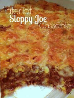 Sloppy Joe tater tot casserole is both quick and easy and kid friendly. With all the flavors you love in a Sloppy Joe and the fun of tater tots! Think Food, I Love Food, Good Food, Yummy Food, Tasty, Sloppy Joe Tater Tot Casserole Recipe, Casserole Recipes, Casserole Dishes, Beef Dishes