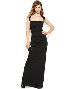 Calvin Klein Cap-Sleeve Sequined Ruched Gown