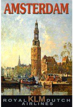 Vintage Travel Poster - Amsterdam - (KLM).