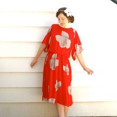80s Vintage Floral Dress// 1980s Red Dress// by AstralBoutique, $38.00