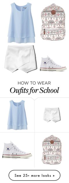"""""""school #4"""" by penguin-alert on Polyvore featuring Uniqlo, Abercrombie & Fitch, Billabong and Converse"""