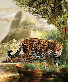 Jaguar In The Shadow Of  Machu Picchu Peru Poster By Gina Femrite