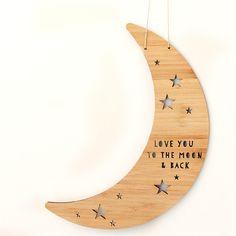 Moon & Back wall art bamboo laser cut plaque boxed nursery baby