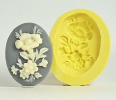 Flower Cameo FL162 - Flexible Silicone Mold - Crafts, Jewelry, Resin, PMC, Soap, Food, Scrapbooking, Polymer Clay, Push Mold