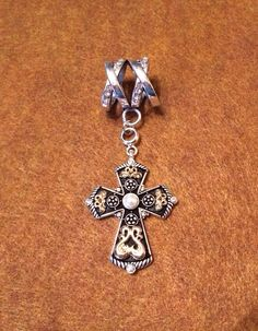 Silver and Black Cross with Gold Accents Scarf Pendant  on Etsy, $12.50
