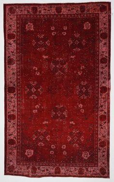 Vintage Turkish Rug Dark Red Floral Carpet 9'5'x6' by bazaarbayar