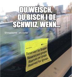 """…wenn 2 gängschter in zug istieged, wennd in freie 4er sitze & de eint de ander ufhalted & seit: """"bro, nöd! das isch reserviert für gruppä!"""" . und du weisch, du bisch de echti gängschter, will dich trotzdem anehocksch😎 . #stellderdasszenarioideparisermetrovor #therealslimshadypleasesitdown #thuglife Thug Life, Memes, Instagram, Train, Switzerland, Funny Stuff, Animal Jokes, Meme"""