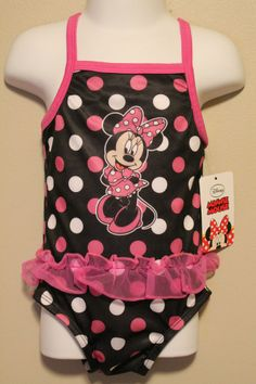 GIRLS 18 months Minnie Mouse Disney Baby one-piece swimsuit ruffle NWT UPF 50+
