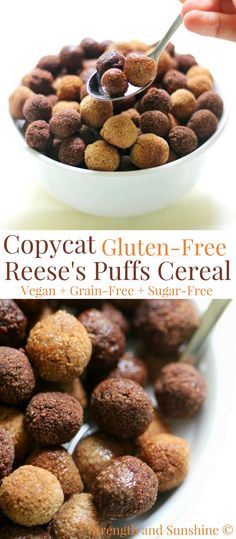 Copycat Gluten-Free Reese's Puffs Cereal (Vegan, Grain-Free) | Strength and Sunshine @RebeccaGF666 Healthy, protein-packed, homemade cereal for breakfast? You will love this recipe for Copycat Gluten-Free Reese's Puffs Cereal that's vegan, grain-free, and sugar-free! Chocolate and peanut butter flavors are just what you need to kickstart your day! #cereal #reeses #breakfast #glutenfree #vegan #grainfree #sugarfree #kidfriendly