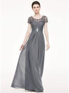 Vestidos princesa/ Formato A Decote redondo Longos De chiffon Renda Vestido para a mãe da noiva com Pregueado Bordado Lantejoulas