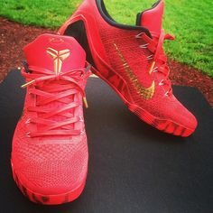 a394e18e5b42 Red Kobe 9 ID s with Red Wax Laced Up Laces All Wax Laces- 25%