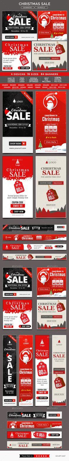 Christmas Sale Banner Bundle - 4 Sets Templates PSD #design #ad #xmas Download: http://graphicriver.net/item/christmas-sale-banner-bundle-4-sets/14119595?ref=ksioks