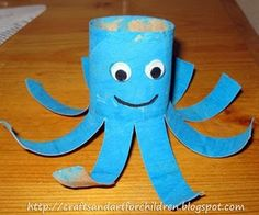 Crafts~N~Things for Children: Toilet Paper Roll Octopus Craft - One could take tissue paper of the same color and add little treats to make these into party favors. Wrap the treats up in the tissue paper and stuff inside the octopus. Kids Crafts, Easy Toddler Crafts, Recycled Crafts Kids, Daycare Crafts, Craft Projects For Kids, Preschool Crafts, Activities For Kids, Arts And Crafts, Craft Ideas