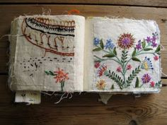 """""""I started making this sample book many years ago. I have cut up old bits of domestic hand embroidery and sewn them into a book. I find it a useful reference tool when I am stuck for a stitch. In some cases I have deliberately sewn the fragment in back to front as I find the random marks on the back just as interesting."""" - Textile Artist Mandy Pattullo"""