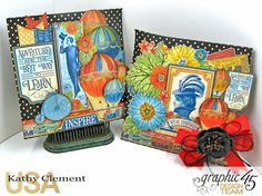 Teacher Appreciation Gift Tutorial, World's Fair, Policy Envelopes by Kathy Clement, Product by Graphic 45 Photo 3 Black Envelopes, Balloon Bouquet, Floral Border, World's Fair, Teacher Appreciation Gifts, The Balloon, Graphic 45, Masculine Cards, Treat Bags
