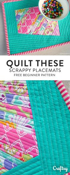 Bust a few of those favorite fabric scraps which you've been saving, by making my super scrappy, slightly wonky, quilted placemat. Get the basic, beginner pattern for FREE at Craftsy!