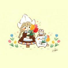 Kawaii Girl Drawings, Studio Ghibli, Art Inspo, Line Art, Cute Pictures, Chibi, Fairy Tales, Art Drawings, Hello Kitty