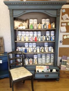 We used Greek Blue in the Annie Sloan Chalk Paint with dark wax.  The inside features French Linen.