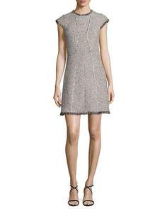 Structured Tweed Dress w/Fringe Trim