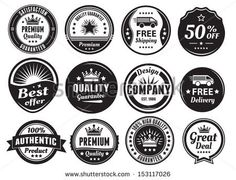 Twelve scalable badges in dark color and vintage style