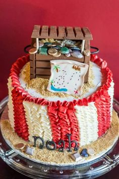 Buttercream Ruffle Cake Pirate Theme Cake! Kit Kat Treausre chest made by Carmen's Sweet Creations