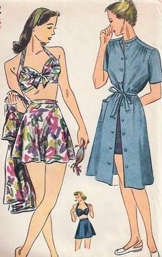 1940s Rita Hayworth Style Bathing Suit and Beach Dress Play Suit Pattern Simplicity 1022 Vintage Sewing Pattern WW II Pin Up Style Bra Top Flared Skirt Swimsuit Front Button Cover Up Dress Bust 30
