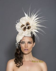 Cream and brown fascinator, kentucky derby hat, Lace headpiece, Royal ascor hats, Melbourne cup hats, Derby Hats