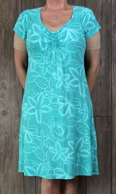 Cute Fresh Produce L size Blue Floral Stretch Dress Vacation Beach Womens Casual USA