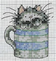 Coffee mug cat cross stitch Cat Cross Stitches, Cross Stitch Books, Mini Cross Stitch, Cross Stitch Needles, Cross Stitch Cards, Cross Stitch Animals, Cross Stitching, Cross Stitch Embroidery, Embroidery Patterns