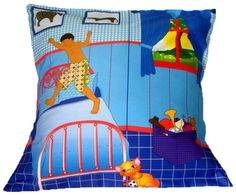 Handmade Bright blue Graphic Throw Pillow with boy jumping on a bed